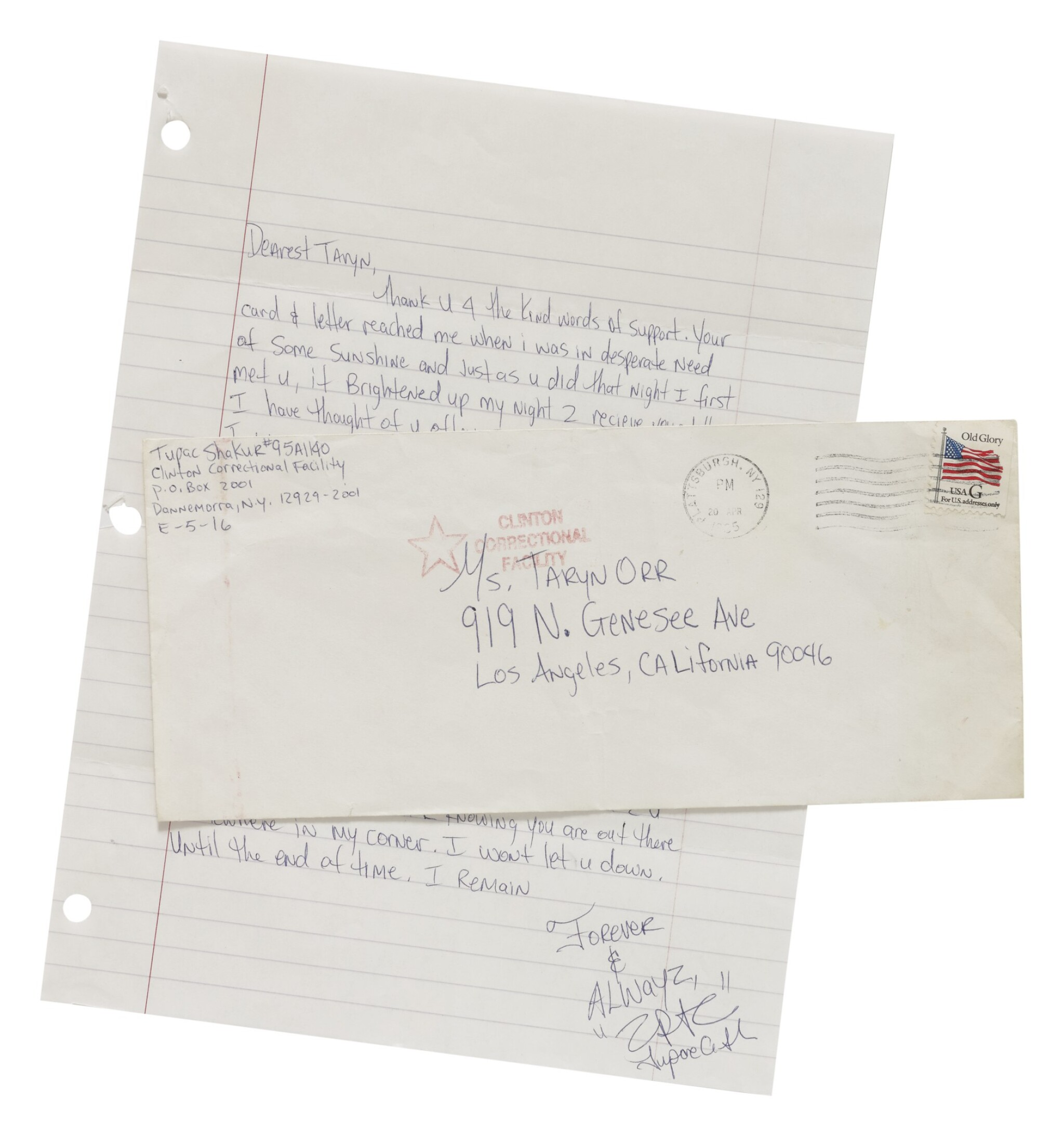 View full screen - View 1 of Lot 90. TUPAC SHAKUR | AUTOGRAPH LETTER SIGNED, NEW YORK, 1995..