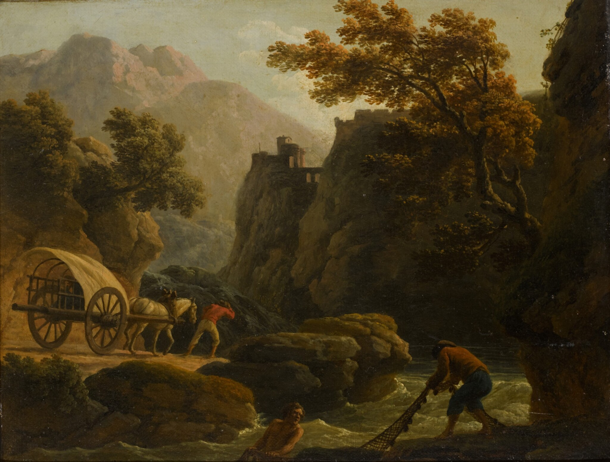 View full screen - View 1 of Lot 197. CLAUDE-JOSEPH VERNET | Mountainous river landscape with two fishermen casting a net, and a man with his horse-drawn cart travelling along a sandy path.