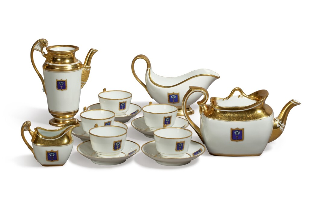 A PORCELAIN TEA AND COFFEE SET FROM THE ALEXANDRIA COTTAGE SERVICE, IMPERIAL PORCELAIN FACTORY, ST PETERSBURG, PERIODS OF ALEXANDER III (1881-1894) AND NICHOLAS II (1894-1917)