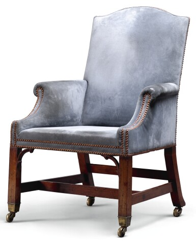 A GEORGE III UPHOLSTERED MAHOGANY ARMCHAIR, LATE 18TH CENTURY