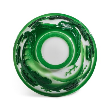 View 5. Thumbnail of Lot 1020. A GREEN OVERLAY WHITE GLASS 'FIGURAL' BOWL, QING DYNASTY, 19TH CENTURY.