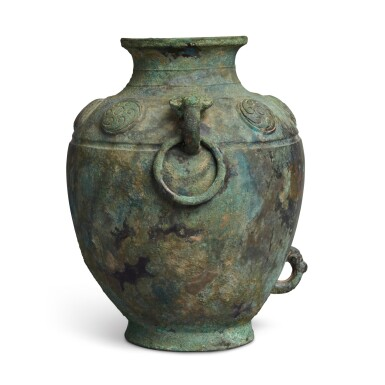 View 4. Thumbnail of Lot 9. A rare archaic bronze ritual wine vessel (Lei), Late Shang dynasty | 商末 需祖庚罍.