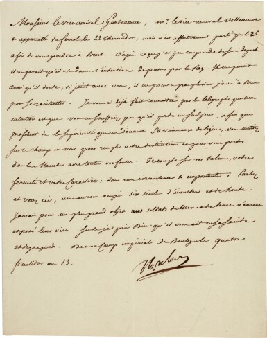View 1. Thumbnail of Lot 79. Napoleon I | letter signed to Admiral Ganteaume, ordering the invasion of England, 22 August 1805.