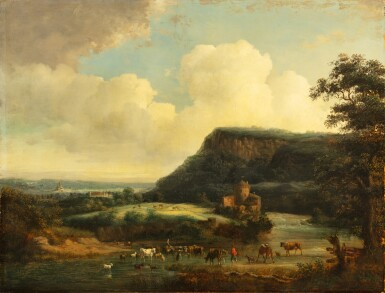 View 1. Thumbnail of Lot 105. An extensive landscape with peasants and cows crossing a river.
