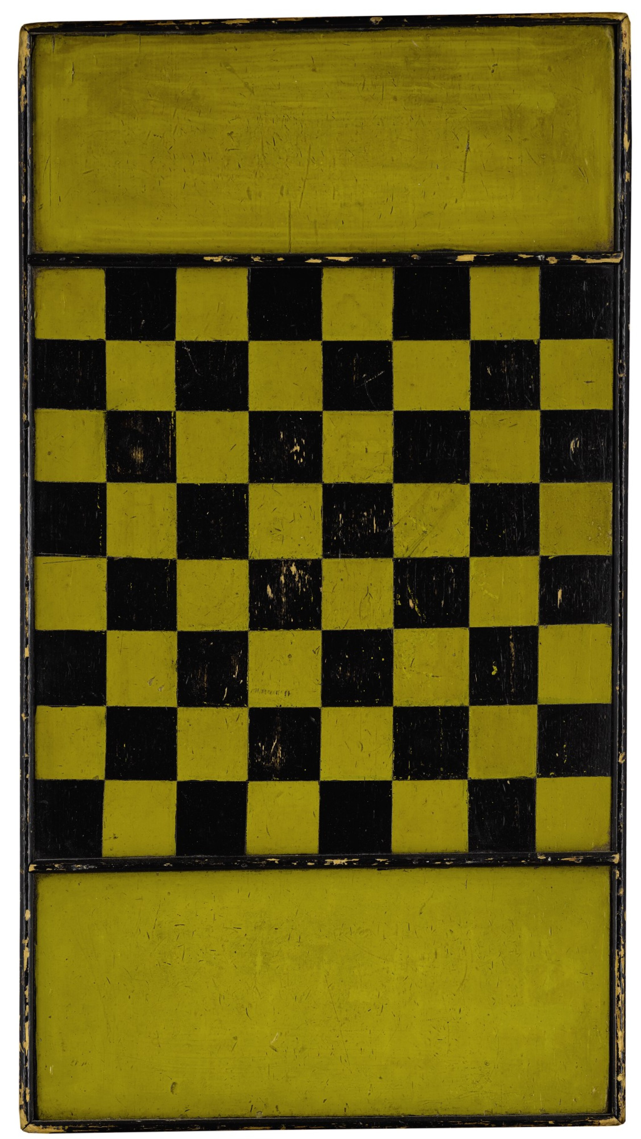 View full screen - View 1 of Lot 1449. AMERICAN YELLOW AND BLACK PAINTED WOODEN CHECKER GAMEBOARD, LATE 19TH CENTURY.
