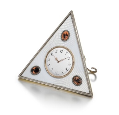 View 2. Thumbnail of Lot 25. A Fabergé jewelled silver, agate and guilloché enamel desk clock, workmaster Michael Perchin, St Petersburg, circa 1902.