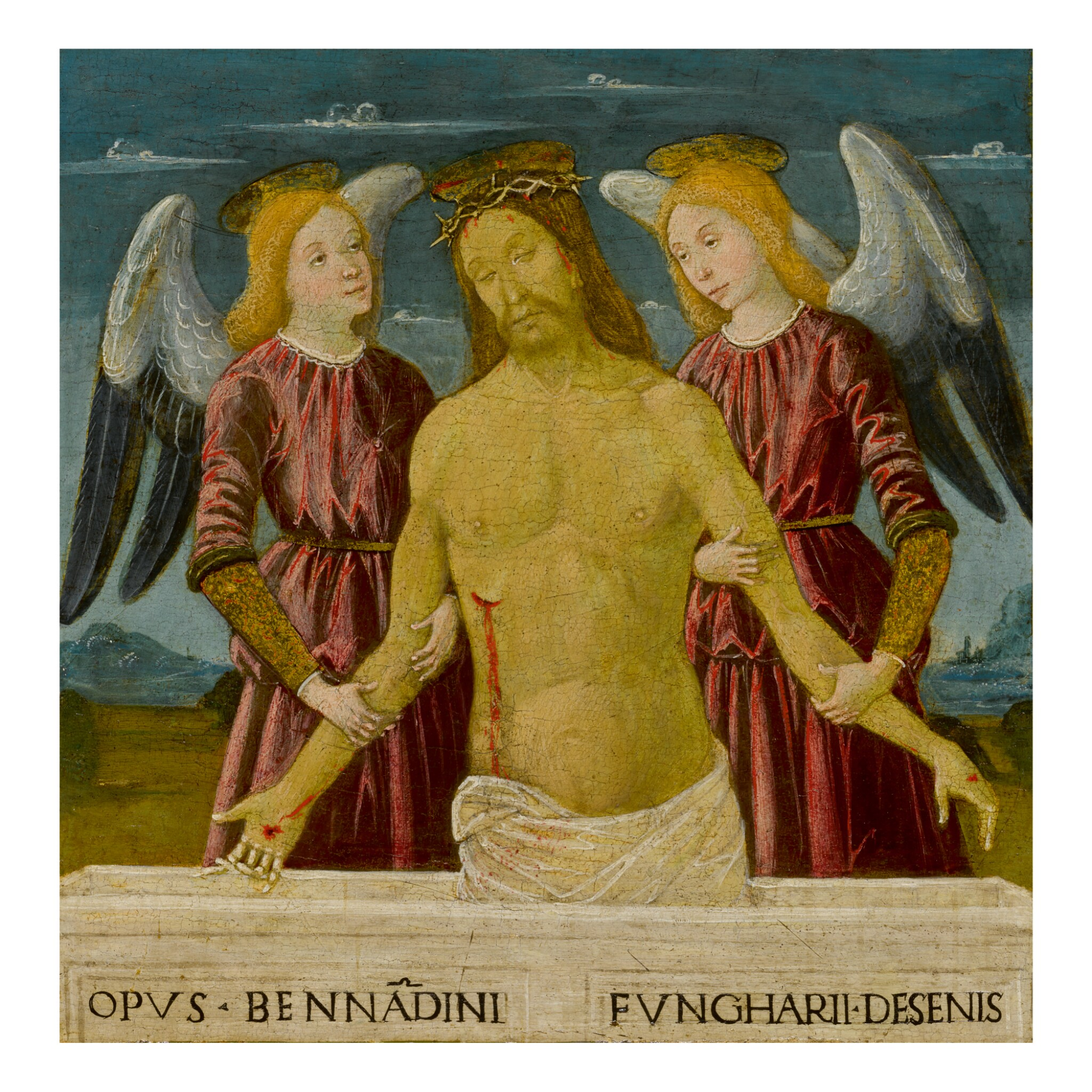 View full screen - View 1 of Lot 106. BERNARDINO FUNGAI   CHRIST SUPPORTED BY TWO ANGELS.