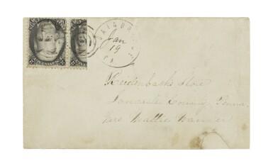 1861-66 2c Black Vertical Bisect (73d)