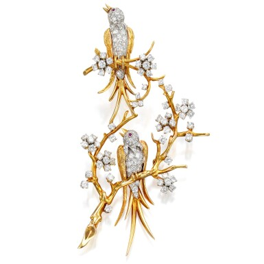 View 1. Thumbnail of Lot 17. Van Cleef & Arpels   Gold, Diamond and Ruby Brooch.