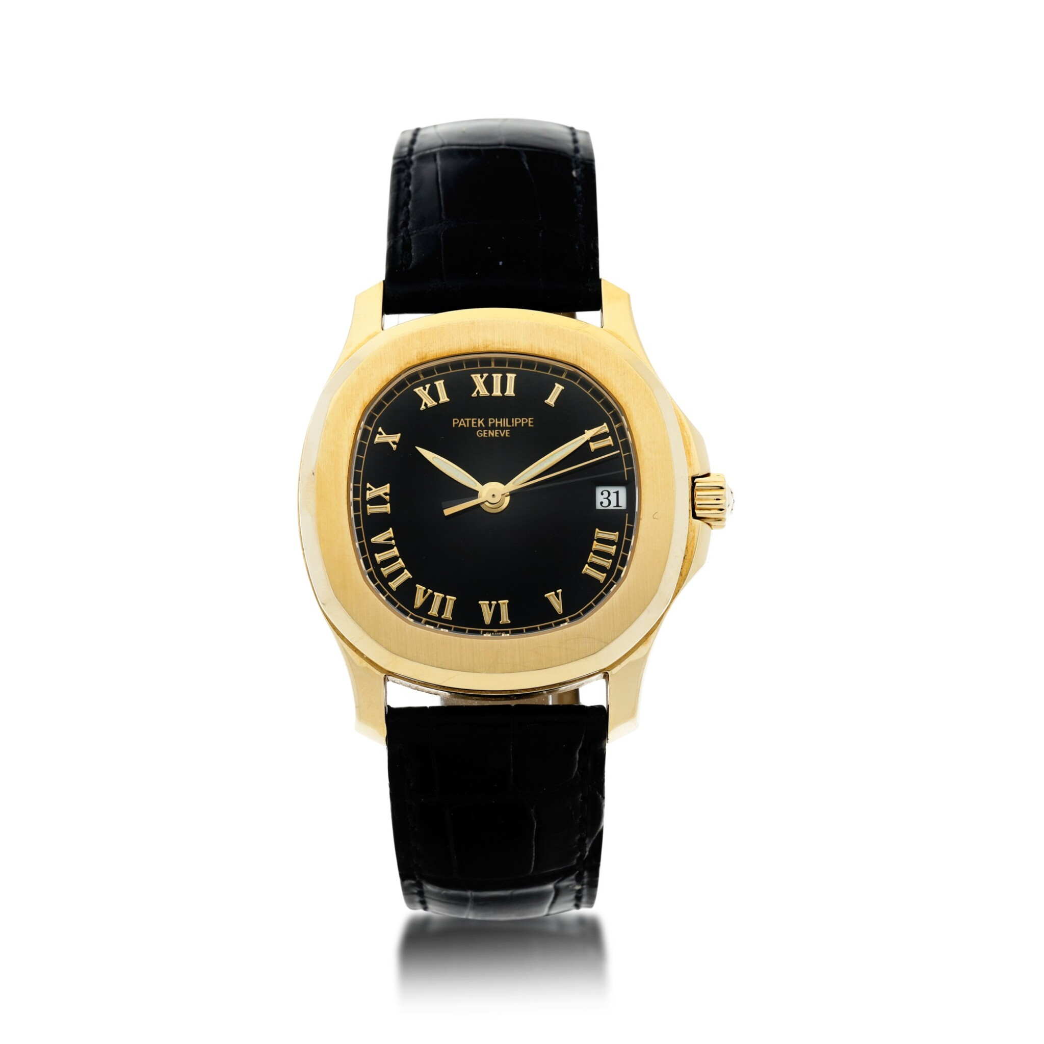 View full screen - View 1 of Lot 20. REFERENCE 5060 AQUANAUT A YELLOW GOLD AUTOMATIC WRISTWATCH WITH DATE, MADE IN 1996.