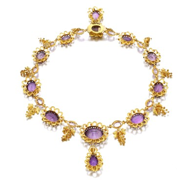 View 3. Thumbnail of Lot 50. AMETHYST AND GOLD NECKLACE, CIRCA 1830.