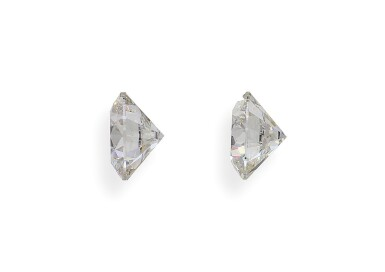 A Pair of 2.03 and 2.02 Carat Round Diamonds, I Color, SI1 and VS2 Clarity