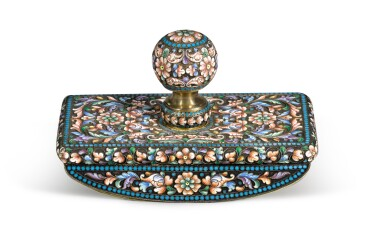 View 2. Thumbnail of Lot 234. A silver and cloisonné enamel blotter, Moscow, 1899-1914 .