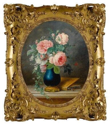 View 2. Thumbnail of Lot 33. ANNE VALLAYER-COSTER | A STILL LIFE OF ROSES AND OTHER FLOWERS IN A BLUE VASE WITH A BOOK.