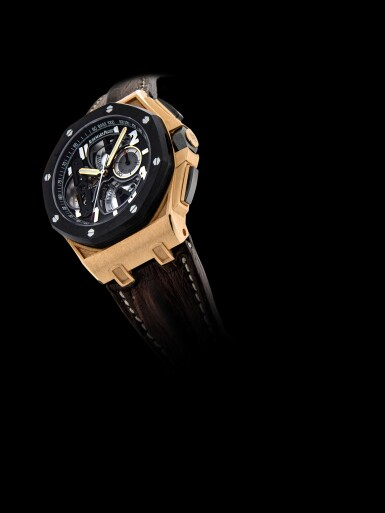 View 4. Thumbnail of Lot 2240. Audemars Piguet | Royal Oak Offshore, Reference 26288OF.OO.D002CR.01, A pink gold and forged carbon semi-skeletonised tourbillon chronograph wristwatch, Circa 2010 | 愛彼 | 皇家橡樹離岸型系列 型號26288OF.OO.D002CR.01  粉紅金及鍛碳半鏤空陀飛輪計時腕錶,約2010年製.