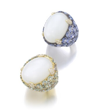 View 2. Thumbnail of Lot 151. PAIR OF MOONSTONE AND SAPPHIRE RINGS.