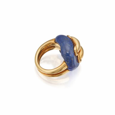View 2. Thumbnail of Lot 368. Aldo Cipullo for Cartier   Gold and Lapis Lazuli Ring.
