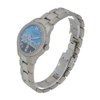 View 2. Thumbnail of Lot 474. ROYAL OPERA HOUSE MUSCAT STAINLESS STEEL AND DIAMOND-SET WRISTWATCH WITH DATE AND BRACELET.