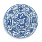 A rare blue and white 'Kraak' 'dragon' dish, Late Ming dynasty