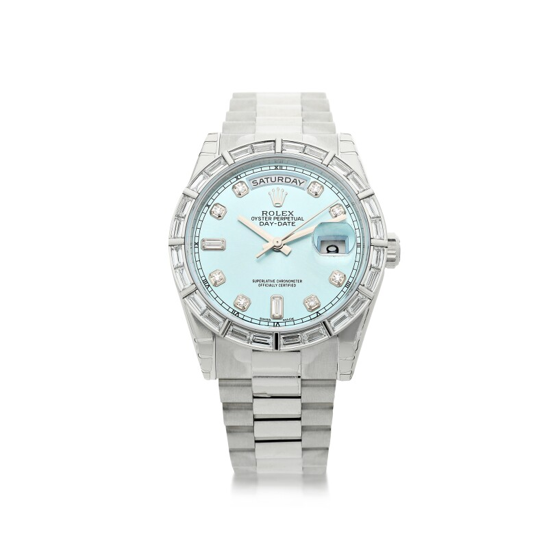 Reference 118366  A Platinum and Diamond-set Wristwatch with Date and Bracelet, circa 2011