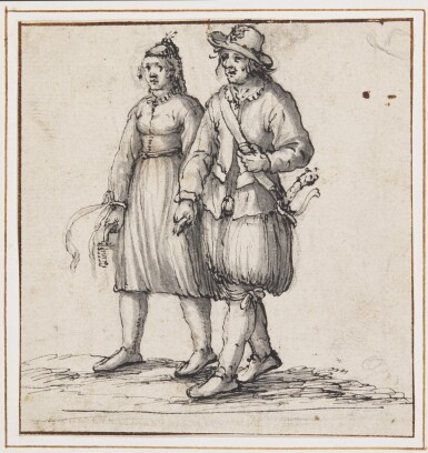 ATTRIBUTED TO DAVID VINCKBOONS | A lady and a gentleman walking side by side