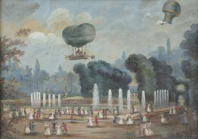 FRENCH SCHOOL, LATE 18TH CENTURY [ECOLE FRANÇAISE DE LA FIN DU XVIIIE SIÈCLE] | VIEW OF THE TUILERIES GARDENS WITH A HOT AIR BALLOON AND A CHARLIÈRE, CIRCA 1783 [VUE DU JARDIN DES TUILERIES AVEC UNE MONTGOLFIÈRE ET UNE CHARLIÈRE, VERS 1783]