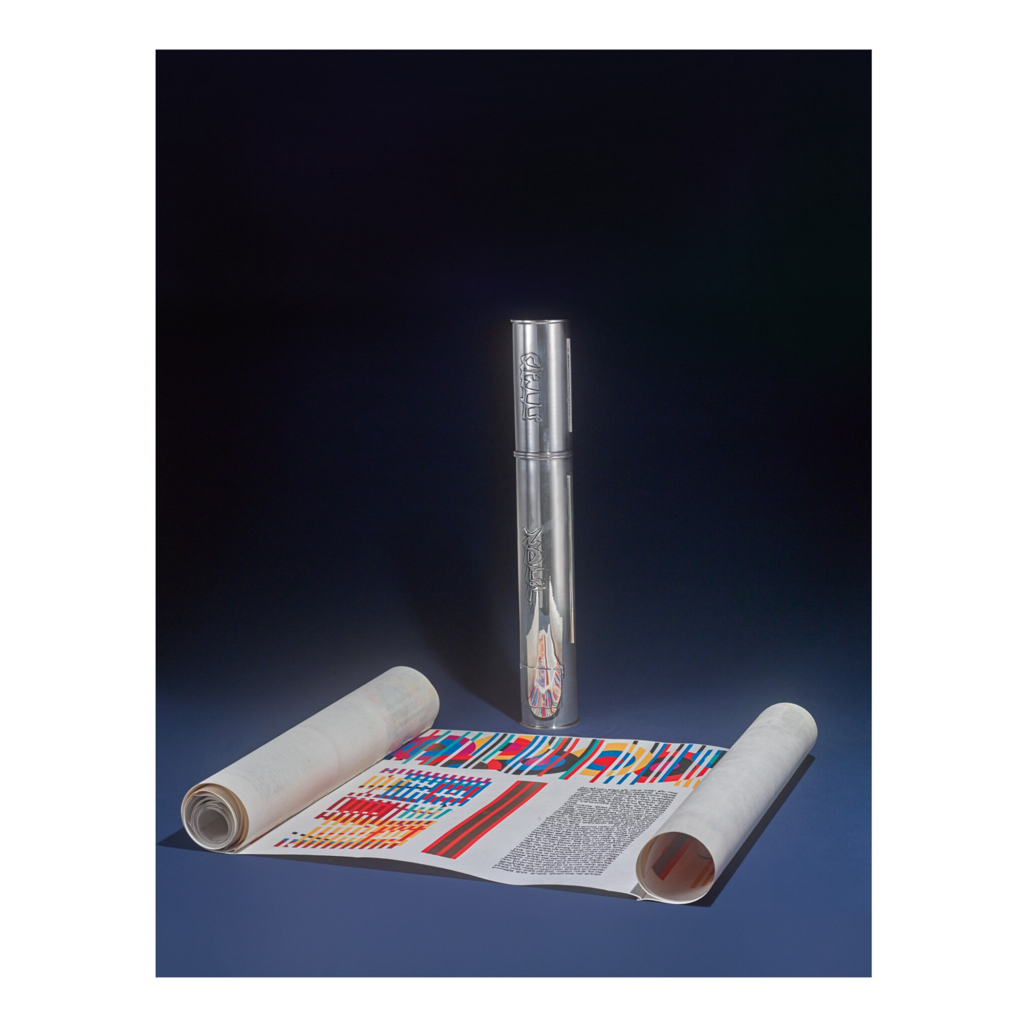 THE YAACOB AGAM MEGILLAH (SCROLL OF ESTHER) IN A SILVER CASE STAMPED WOLPERT, C. 1980