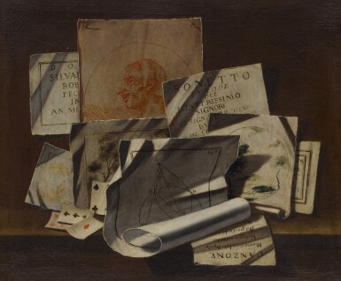 View 3. Thumbnail of Lot 96. A pair of trompe-l'œil still lifes with portrait and landscape sketches, sonnets, mathematical sketches.