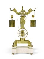 A brass skeleton clock with weight-driven constant force escapement, Gioachino Alberti, Milan, dated 1834