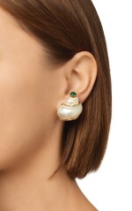 PAIR OF SHELL AND CHALCEDONY EARCLIPS, SEAMAN SCHEPPS