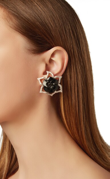 View 4. Thumbnail of Lot 11. PAIR OF ONYX AND DIAMOND EARCLIPS, CHANEL, FRANCE.