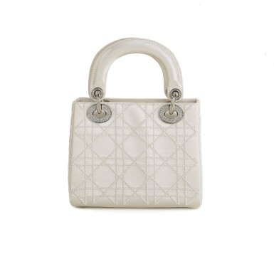 View 1. Thumbnail of Lot 750. DIOR | CREAM LADY DIOR MINI BAG IN SATIN WITH MINI PEARL BEADING CANNAGE AND CRYSTAL TRIM.