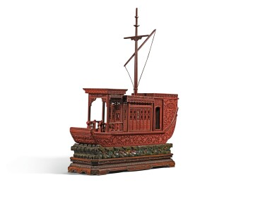 View 2. Thumbnail of Lot 143. A RARE AND LARGE CARVED CINNABAR LACQUER BOAT-SHAPED INCENSE BOX QING DYNASTY, QIANLONG PERIOD | 清乾隆 剔紅八吉祥紋畫舫式香盒.
