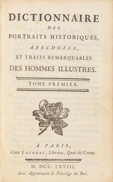 View 2. Thumbnail of Lot 77. Dictionnaire des portraits.1768. 3 vol. aux armes de la comtesse de Provence. Avec : Richer..
