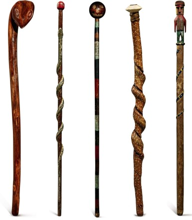 GROUP OF FIVE CARVED AND PAINT-DECORATED WOODEN WALKING STICKS, LATE 19TH CENTURY AND EARLY 20TH CENTURY