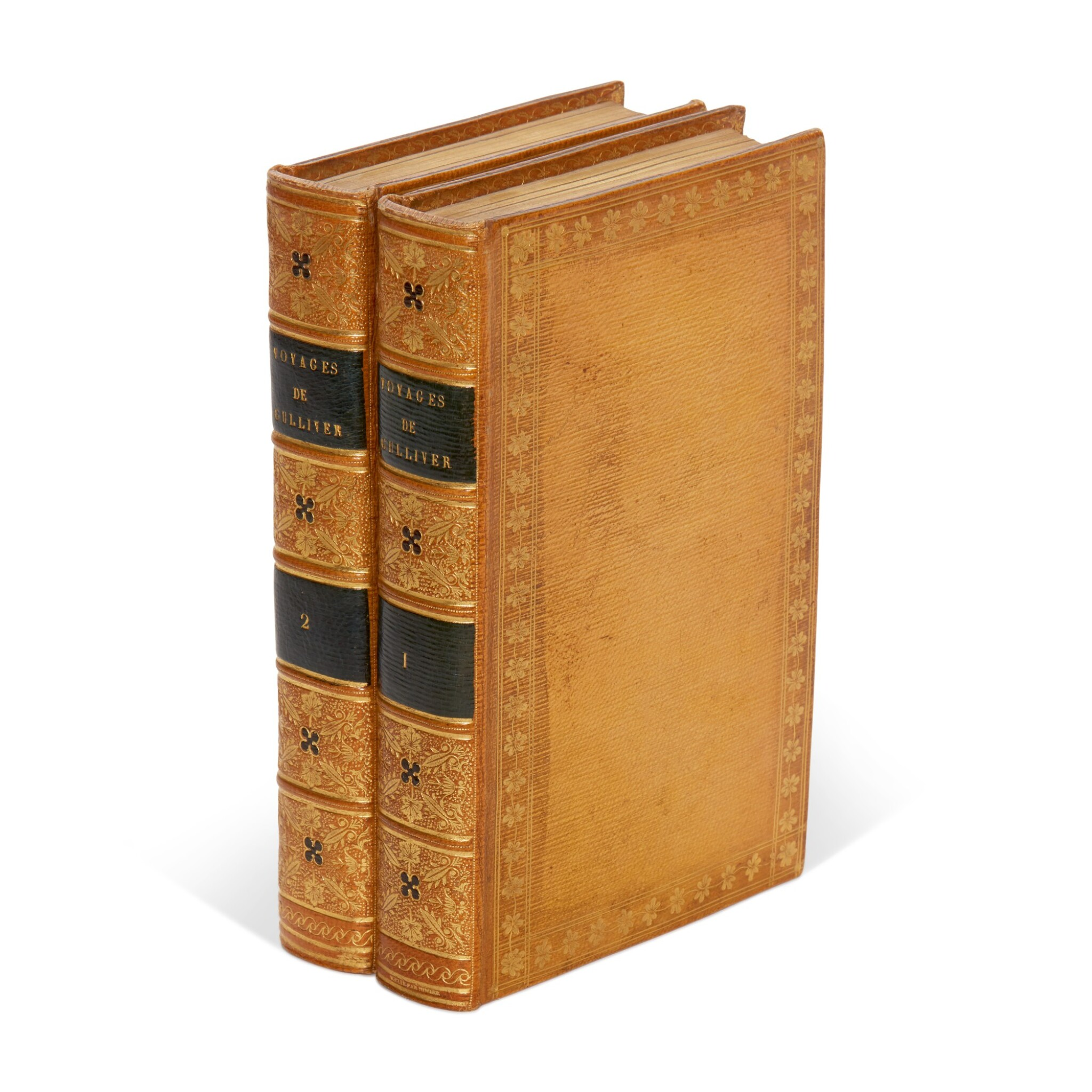 View full screen - View 1 of Lot 244. Swift, Voyages de Gulliver, Paris, 1797, contemporary citron morocco by Simier, 2 volumes.