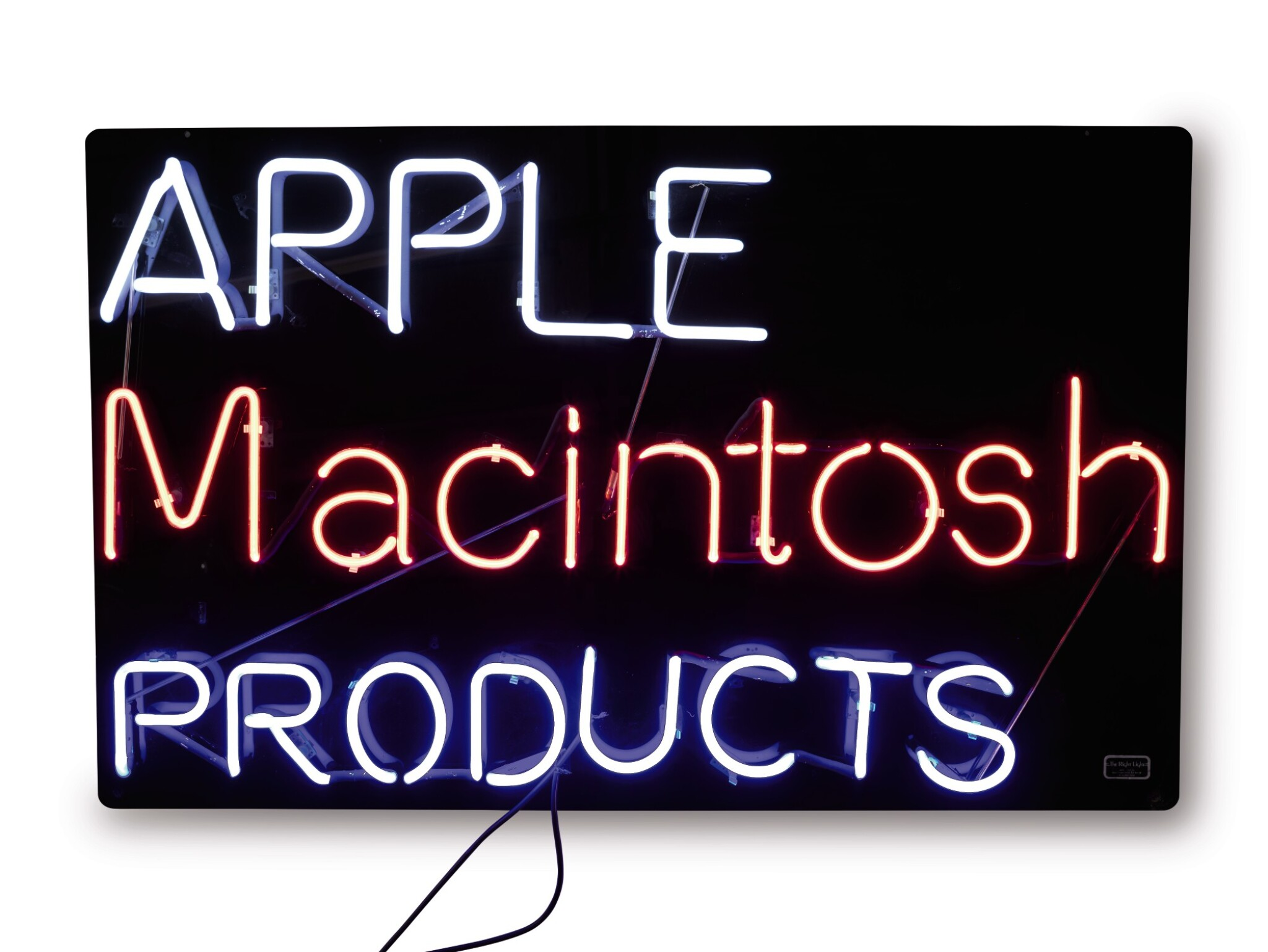 """View full screen - View 1 of Lot 46. APPLE COMPUTER, INC.   ORIGINAL NEON """"APPLE MACINTOSH PRODUCTS"""" SIGN, CIRCA 1985-1989."""
