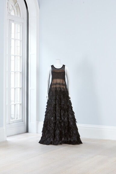 View 2. Thumbnail of Lot 30. Black Evening Gown in Raffia and Silk, 2016.