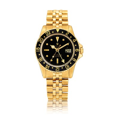 """View 1. Thumbnail of Lot 2262. Rolex   GMT-Master II """"Nipple Dial"""", Reference 1675, A yellow gold dual time zone wristwatch with date and bracelet, Circa 1978   勞力士   GMT-Master II """"Nipple Dial"""" 型號1675  黃金兩地時間鏈帶腕錶,備日期顯示,約1978年製."""