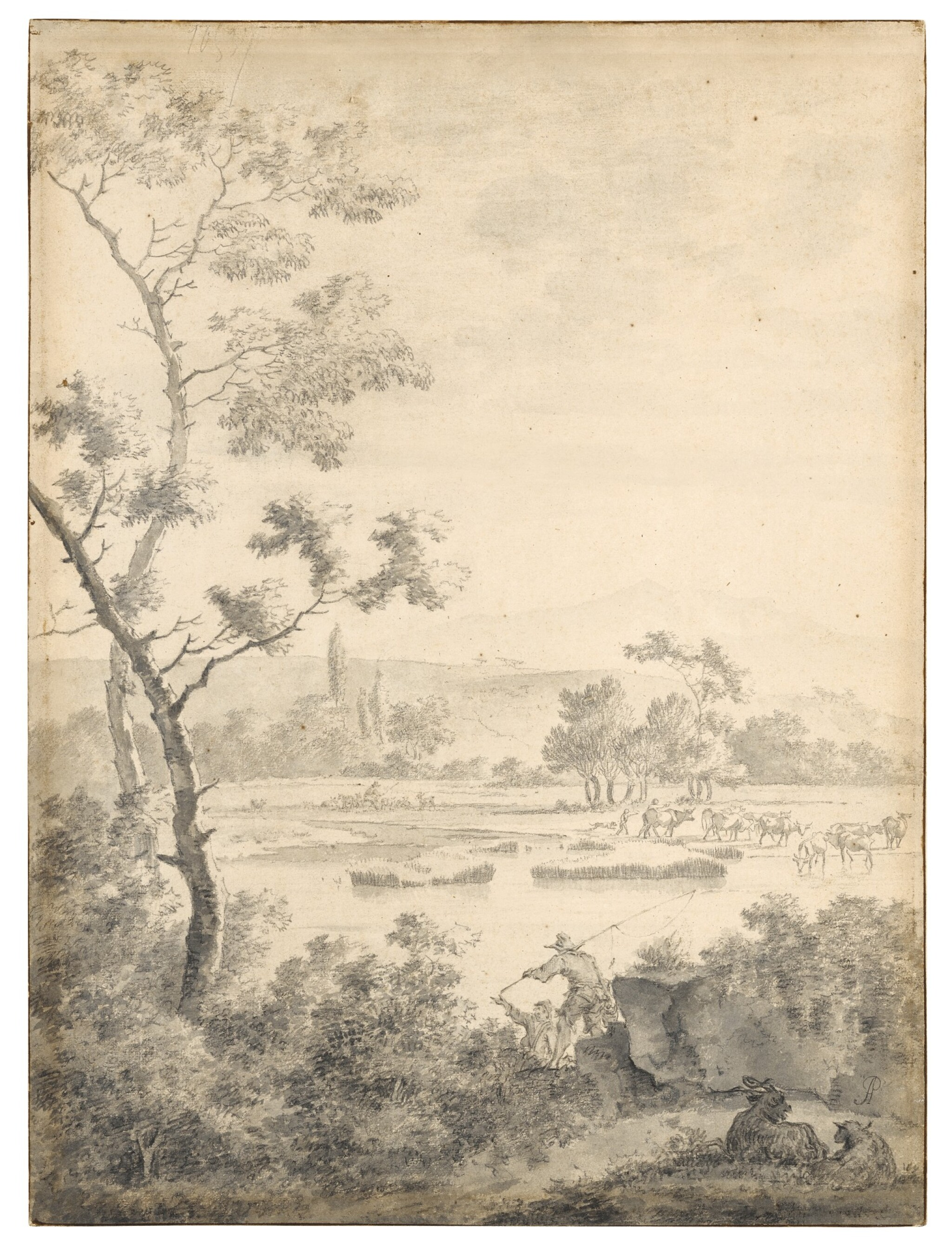 View full screen - View 1 of Lot 99. Landscape with Fishermen and Goats.