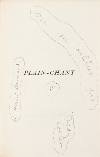 View 1. Thumbnail of Lot 225. COCTEAU. Plain-chant. 1923. Broché. 1/25 premiers exemplaires sur Hollande. Envoi a.s..