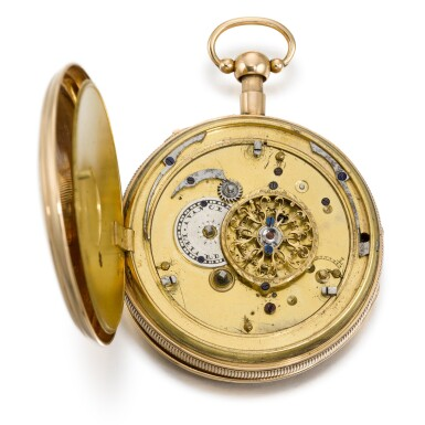 View 2. Thumbnail of Lot 286. ROMILLY & COMPE   A GOLD QUARTER REPEATING AUTOMATON WATCH WITH JACQUEMARTS, CIRCA 1790 NO. 5089.