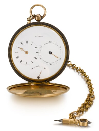 View 1. Thumbnail of Lot 30. BREGUET  [ 寶璣]  | A RARE AND SLIM GOLD AND SILVER HUNTING CASED RUBY CYLINDER WATCH WITH SUBSIDIARY HOUR AND MINUTE DIALS  NO. 4582 T4130, 'MONTRE SIMPLE TRÈS PLATE' SOLD TO MONSIEUR PASCHKOFF ON 23 MAY 1829 FOR 2,200 FRANCS  [ 罕有黃金及銀製懷錶備紅寶石工字輪擒縱機芯、小時及分鐘小錶盤,編號4582 T4130,1829年5月23日以2,200法郎售出].