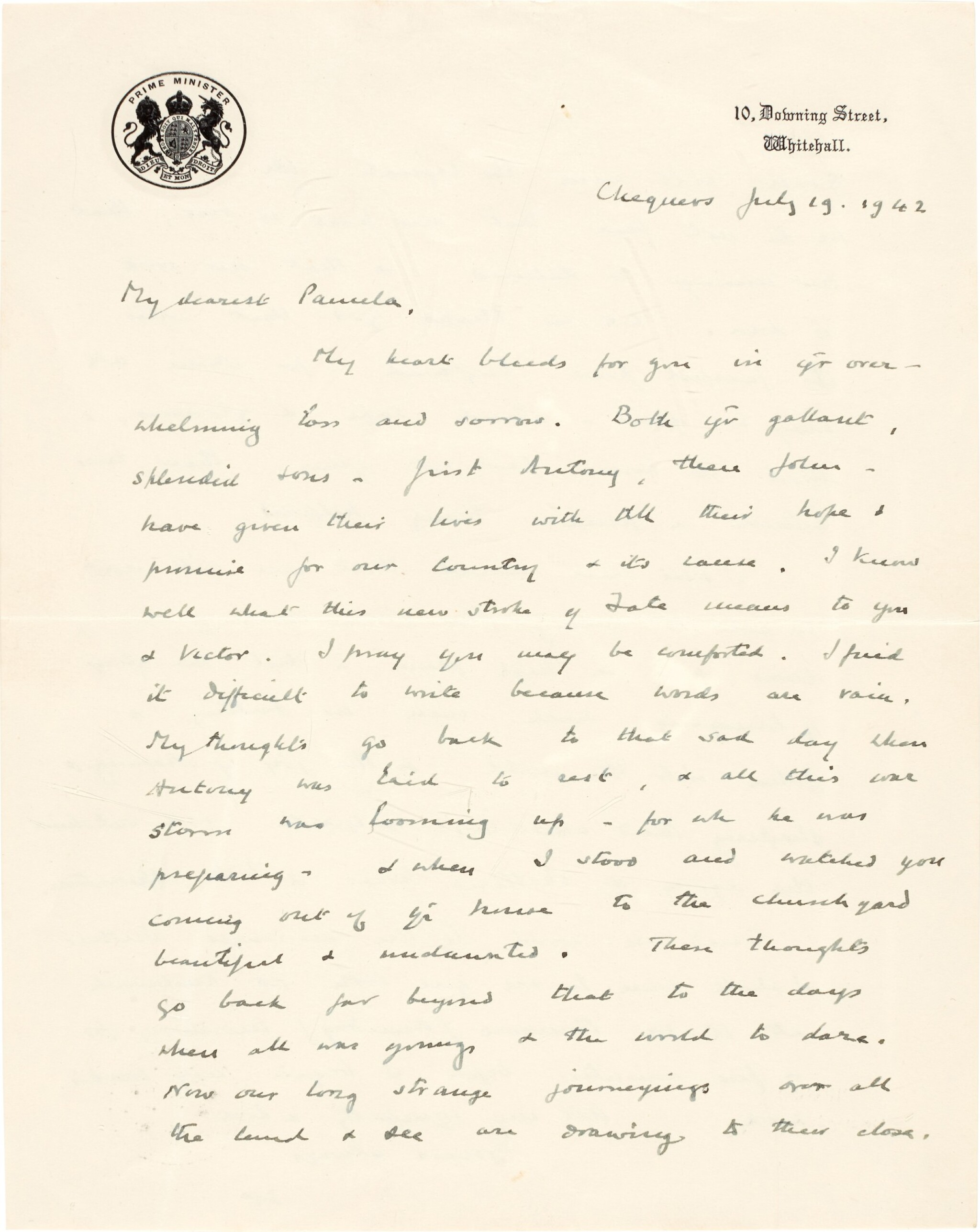 View full screen - View 1 of Lot 24. Sir Winston Churchill | autograph letter signed, to Pamela, Lady Lytton, 1942.