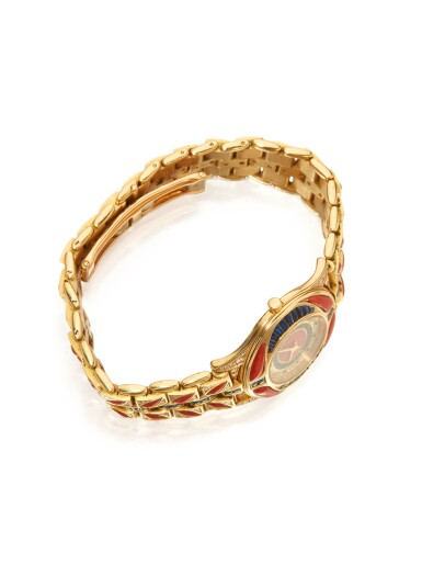 View 3. Thumbnail of Lot 50. GOLD, CORAL, SAPPHIRE AND DIAMOND WRISTWATCH, MAUBOUSSIN.