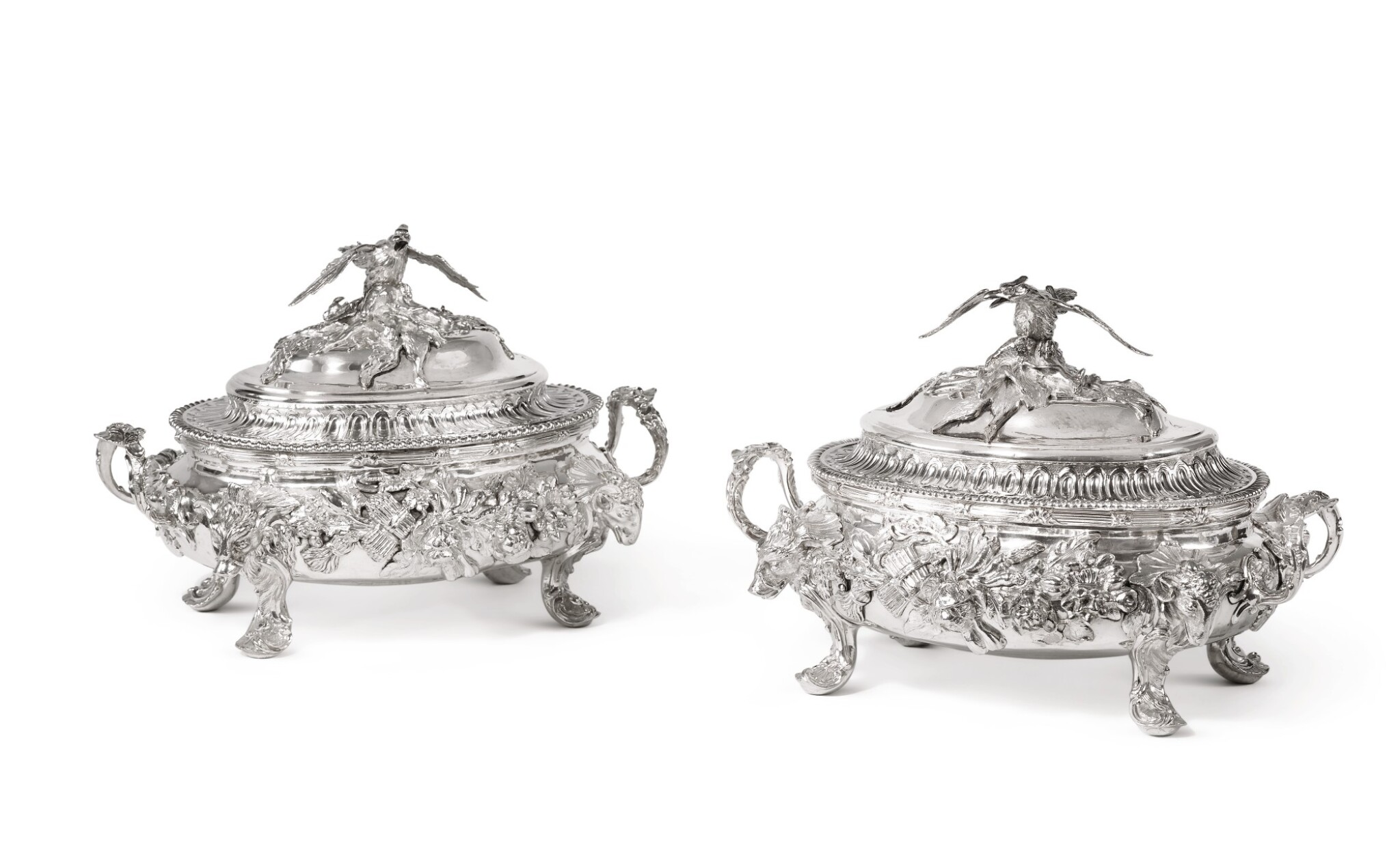 View full screen - View 1 of Lot 192. TWO MATCHING GEORGIAN SILVER SMALL TUREENS AND COVERS, WILLIAM CRIPPS AND PARKER & WAKELIN, LONDON, 1757 AND 1770.
