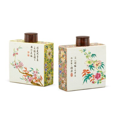 A RARE PAIR OF INSCRIBED FAMILLE-ROSE SQUARE TEA CADDIES ATTRIBUTED TO TANG YING, QING DYNASTY, QIANLONG PERIOD | 清乾隆 傳唐英製粉彩詩文花卉四方茶罐一對