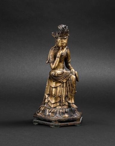 View 1. Thumbnail of Lot 263. Figure de Maitreya en bronze doré Corée, probablement début XXE siècle   朝鮮 或為二十世紀初 鎏金銅彌勒佛坐像   A gilt bronze figure of seated Maitreya, Korea, probably early 20th century, in an earlier Joseon style.