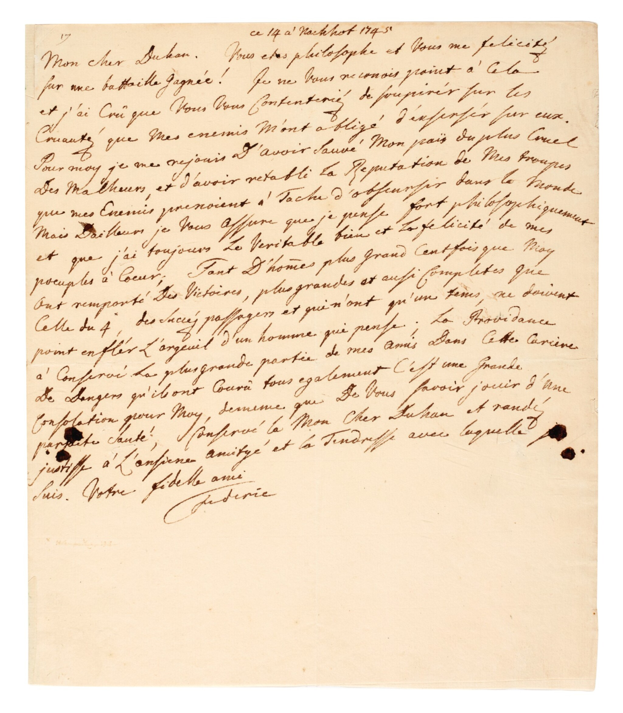 View full screen - View 1 of Lot 46. FREDERICK II | autograph letter signed, about the Battle of Hohenfriedberg and being a Philosopher King, 1745.