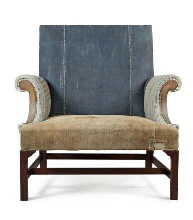 View 2. Thumbnail of Lot 13. A UNIQUE REYNOLDS MAHOGANY AND STAINED BEECH ARMCHAIR MADE BY HOWE, MODERN.